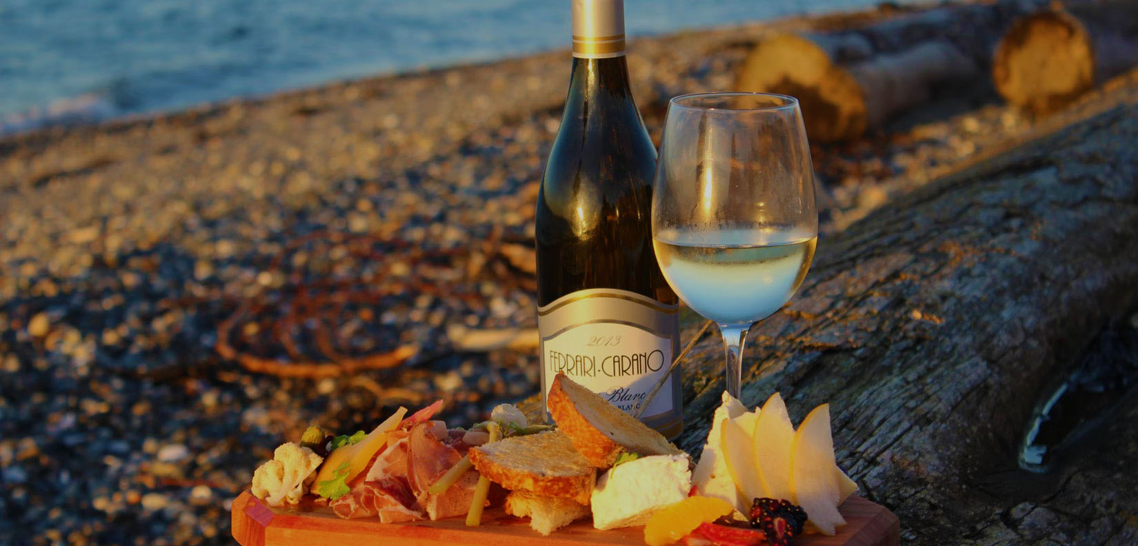 wine and cheese on the beach