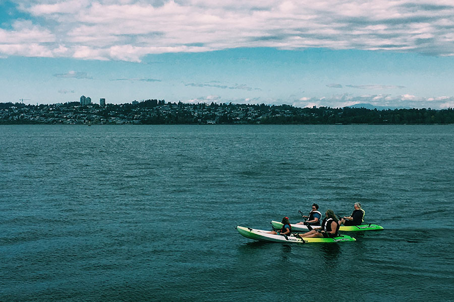 kayakers on the bay